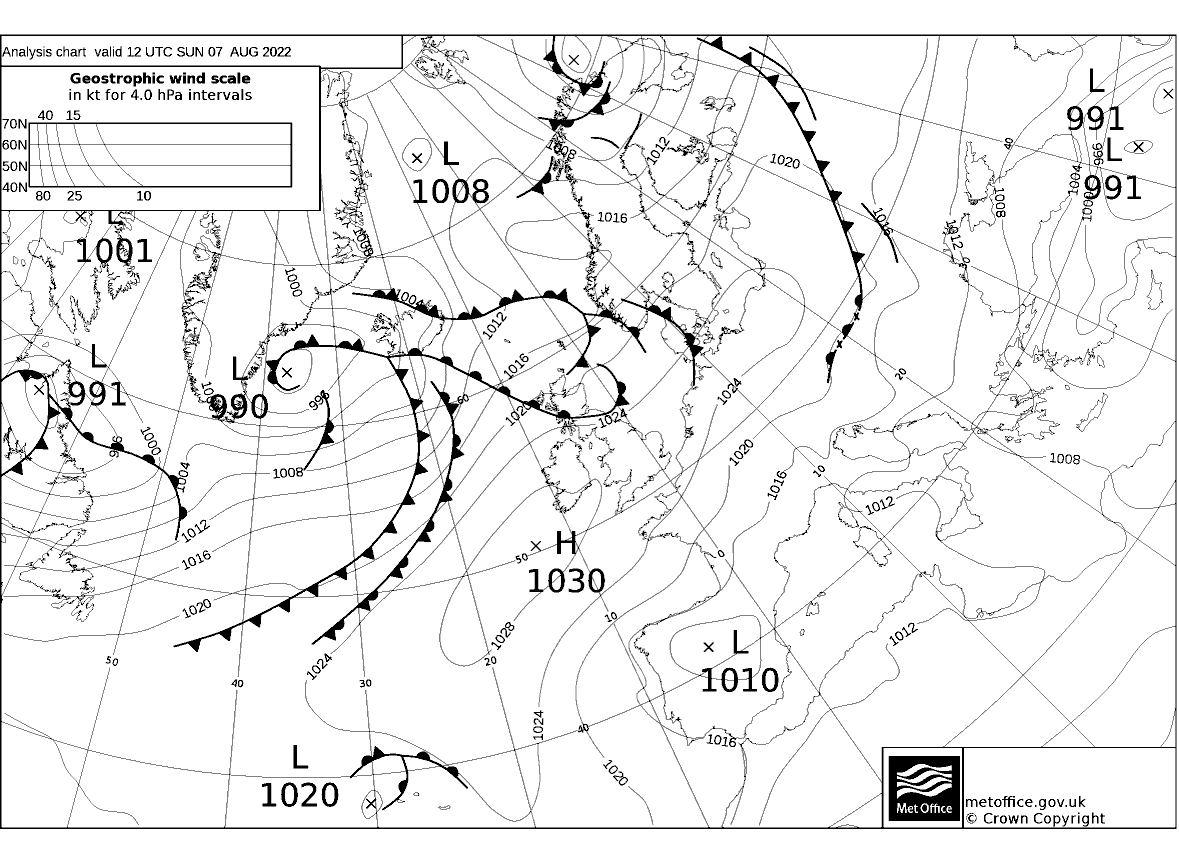 Latest Met Office synoptic chart - Analysis