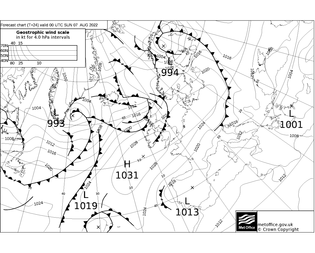 Latest Met Office synoptic chart - T+24