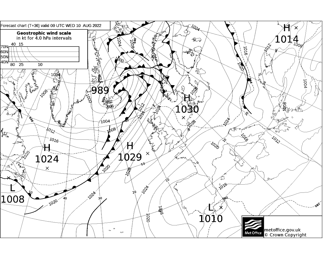 Latest Met Office synoptic chart - T+36