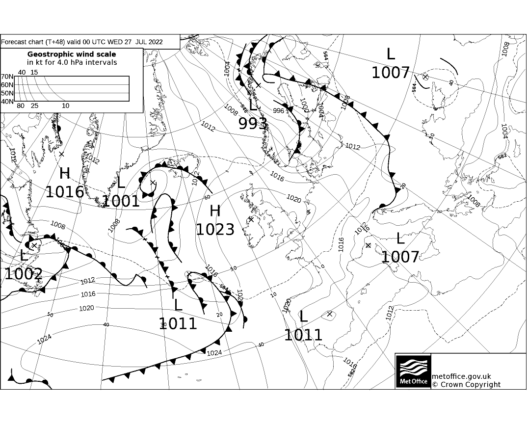 Latest Met Office synoptic chart - T+48
