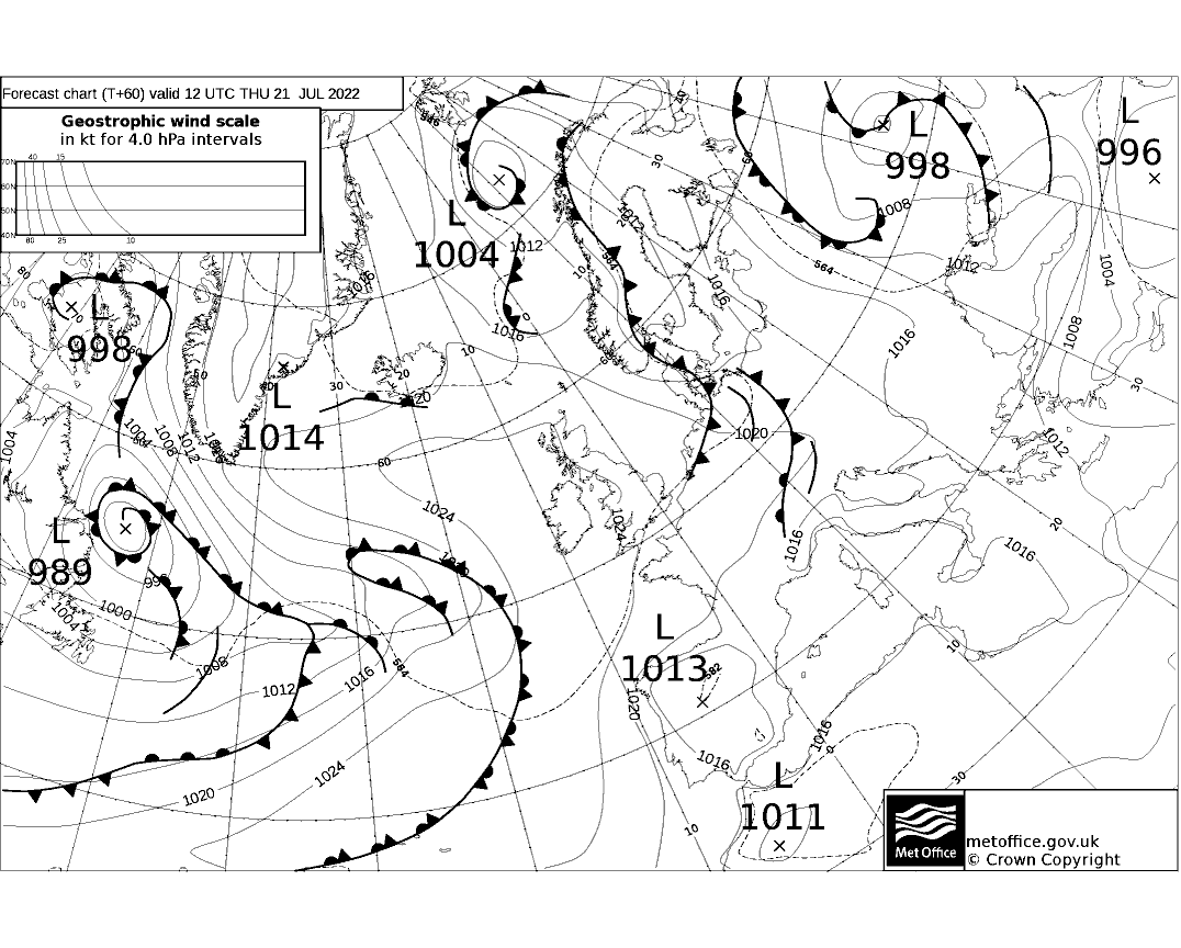 Latest Met Office synoptic chart - T+60