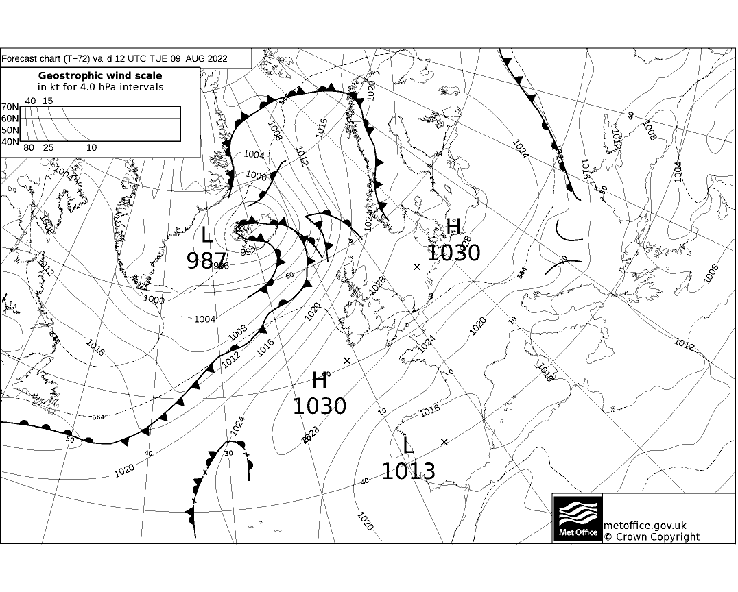 Latest Met Office synoptic chart - T+72