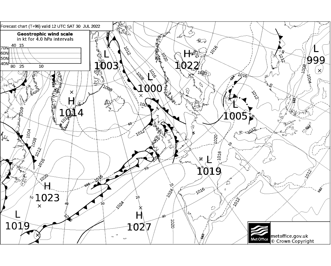 Latest Met Office synoptic chart - T+96