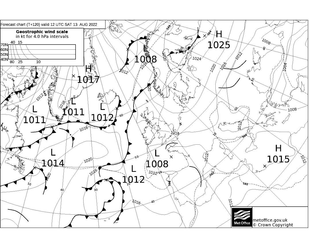 Latest Met Office synoptic chart - T+120